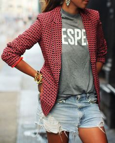 Casual tee + printed blazer