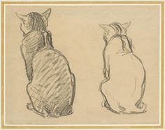 Two Studies of a Cat - Théophile-Alexandre Steinlen. Théophile Alexandre Steinlen, frequently referred to as just Steinlen (November 1859 – December was a Swiss-born French Art Nouveau painter and printmaker. Animal Sketches, Animal Drawings, Art Sketches, Art Du Croquis, Cat Anatomy, Nature Sketch, Cat Sketch, Cat Pose, Watercolor Cat