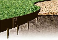 """everedge steel edging. includes link to video on installation. recommends using varying heights (3, 4, 5"""") to accommodate a grade."""