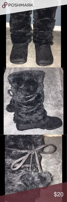 Furry Mid-calf Boots with Pom-Pom ties, size 9 Adorable black, furry, slip-on mid-boot worn only two times, brand unknown.  Even cuter in person!  Great condition, no smoke/no pet home. Shoes Wedges