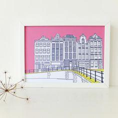 Amsterdam Print Hot Pink art print artwork by PeonyandThistle