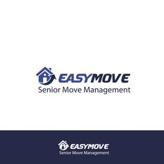 EasyMove Senior Move Management (Senior Move Management smaller underneath EasyMove) �20We help seniors move! Blues and neutrals and a design that has packing or house image