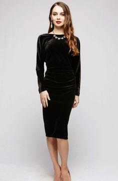 Evening Velvet Black Dress.Open Back Dress par FashionDress8