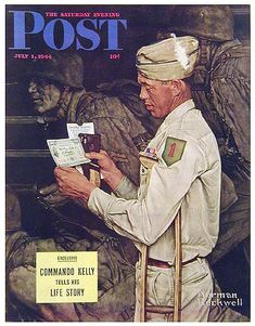 Soldier in the First Division, War Bond Saturday Evening Post Cover, July Giclee Print by Norman Rockwell Norman Rockwell Prints, Norman Rockwell Paintings, Saturday Evening Post, Boys Life, Arte Pop, Thing 1, Vintage Magazines, Illustrations, Belle Photo