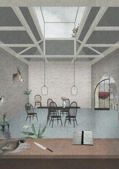OMMX, Bolingbroke Collage Drawing, Cafe Me, Viera, Patio, Architecture, Outdoor Decor, Inspiration, Furniture, Architectural Presentation