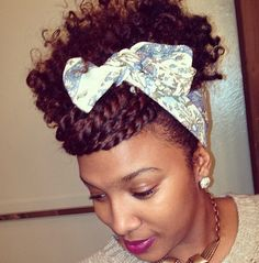scarf, puff & twisted bang