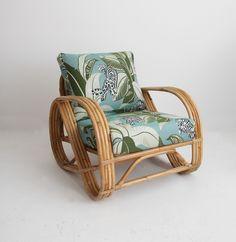 Robert Allen Jungalow Lime By Sunbrella On Lincoln Brooku0027s Pretzel Rattan  Chair.