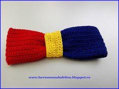 lucru manual adelina: Papion tricolor crosetat culori verticale