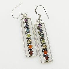 Multi Stone Chakra Rectangle Sterling Silver Earrings