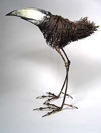 images from Velvet da Vinci Contemporary Art Jewelry and Sculpture Gallery - -All artist images from Velvet da Vinci Contemporary Art Jewelry and Sculpture Gallery - - Tom Hill's Playful Sculptures of Birds Made of Wires and Wood Sculptures Sur Fil, Art Sculpture, Animal Sculptures, Wire Sculptures, Abstract Sculpture, Bronze Sculpture, 3d Studio, Recycled Art, Wire Art