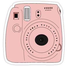 'pink Polaroid camera ' Sticker by stelladabs Stickers Cool, Preppy Stickers, Red Bubble Stickers, Tumblr Stickers, Printable Stickers, Image Stickers, Macbook Stickers, Phone Stickers, Pink Polaroid Camera