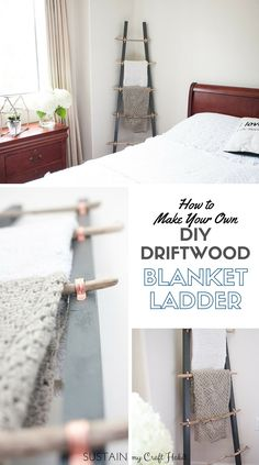 Love this DIY blanket ladder made with driftwood, copper tube clamps and 2x2's ! Such a great coastal or farmhouse decor idea! Step-by-step tutorial included.