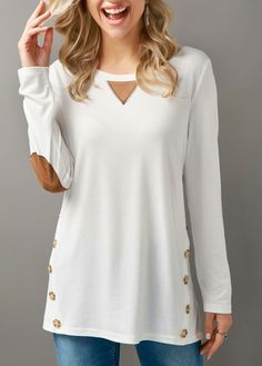 Long Sleeve Button Embellished Elbow Patch T Shirt | Rosewe.com - USD $29.05