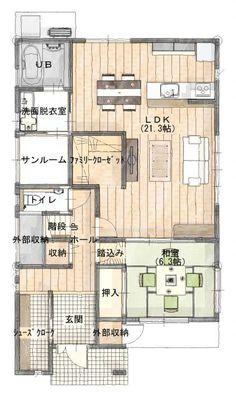 1階にファミリークローゼットを設置しました。 1階にクローゼットがあるので、お風呂上がりや帰ってきたときなど、着替える度に階段を上り下りしなくてもいいからとても便利。 特に子どもが小さいうちは、1日に何度も着替えを取りに行ったり来たりする手間… My House Plans, House Floor Plans, Japanese Apartment, Apartment Layout, Paint Colors For Living Room, Sims House, Japanese House, House Layouts, Architect Design