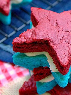 Patriotic Brownie Sandwich Cookies - This Silly Girl's Life