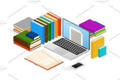 Online education, web e-book shop, library vector isometric concept Graphics Online education, web e-book shop, library vector isometric concept. Electronic online library, lite by MicroOne