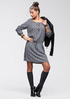 Kleid schwarz/wollweiß bedruckt - RAINBOW jetzt im Online Shop von bonprix.de ab ? 29,99 bestellen. Schick! Süßes Kleid von RAINBOW, mir Gummizug in der ...