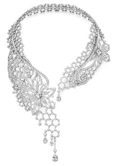 Piaget Couture Précieuse necklace Diamond Embroidery Inspiration. Crafted in 18K white gold set with 1513 brilliant-cut diamonds (approx. 44.19 cts), 133 baguette-cut diamonds (approx. 16.77 cts), 4 pear-shaped diamonds (approx. 7.55 cts) and 11 rose-cut diamonds (approx. 5.96 cts).