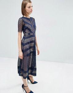 ASOS | ASOS Premium Occasion Lace Midi Dress