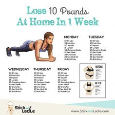 Lose 10 Pounds in One Week: A 7 Day Diet and Workout Action Plan – Stick&Ladle de entrenamiento de fitness zuhause Summer Body Workouts, Gym Workout Tips, Fitness Workout For Women, At Home Workout Plan, Fitness Workouts, Yoga Fitness, Health Fitness, Physical Fitness, 1 Week Workout
