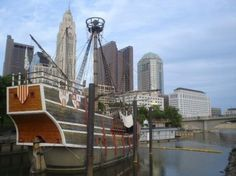 """This is a replica of the Santa Maria.  It is amazingly small.  It floats downtown on the Scioto River.  I thinks it is supposed to  be about """"discovery"""" but I find it rather sad when I think about the horrors that followed for the Native Americans."""