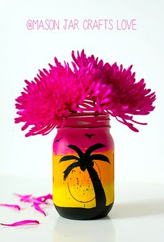 Mason Jar Crafts: Painted & Distressed Tropical Sunset Mason Jar