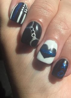 For the love of my Leo, thin blue line nail art, manicure