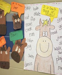 """Cool idea: book and activity for verbs """"First Grade Blue Skies: It is Time for...a verb activity"""""""