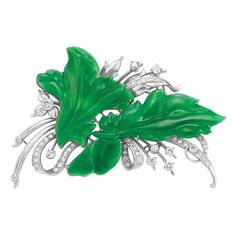 Jade and Diamond Brooch