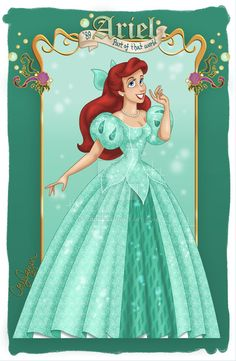 Ariel in her gorgeous Disneyland gown! Not much more to say...ha ha Still experimenting some new shading techniques. c) Disney