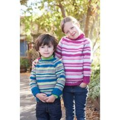 Patons® Classic Wool DK Superwash™ Kids Top-Down Striped Sweater