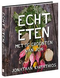 In zijn boek Echt eten gaat Jonathan Karpathios terug naar de basis: wat is de bron van onze voeding? Wie zijn de mensen achter de producten en hoe worden ze gemaakt? Wat is het belang van goede ingrediënten en hoe volg je op eenvoudige wijze de smaak van de seizoenen?  Met meer dan 120 recepten geeft het boek volop inspiratie om weer écht eten op tafel te zetten!