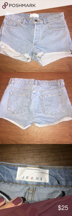 American Apparel: Mid Rise Blue Jean Shorts Blue jean shorts with cuffs on the bottom. Perfect condition, worn once. Size: 24. American Apparel Shorts Jean Shorts