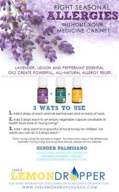 Young Living Allergy Trio Lavender Peppermint Lemon Allegra Zyrtec Clariton Antihistamine