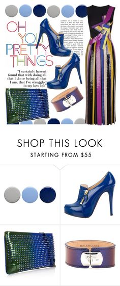 """""""Patent Chic"""" by cavallienastri ❤ liked on Polyvore featuring Burberry, Christian Louboutin, Balenciaga, Emilio Pucci, Blue, emiliopucci, Louboutin and patentleather"""