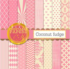 Pink digital paper pink patterns, pink backgrounds with light pink hues 'coconut fudge' x 16