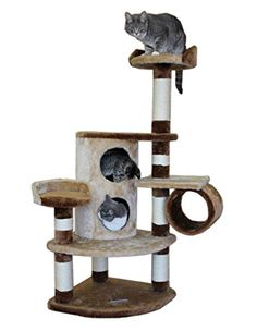 Corner Cat Condo Two Story Furniture with Two Beds and Tunnel, Brown/Beige * For more information, visit now : Cat Tree and Tower