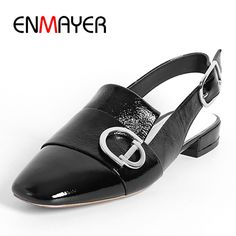 (54.96$)  Watch more here - http://ail2j.worlditems.win/all/product.php?id=32793458336 - ENMAYER Classic Black Shoes Woman Flats Summer Sandals Leather Casual Shoes Size 34-39 Jelly Shoes in Women's Buckle Strap Flats