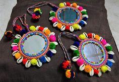 Large Mirror Indian Tassel Purse & Handbag Decoration Cowrie