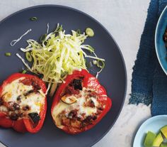 Chili-Stuffed Peppers With Cabbage Slaw Get the recipe: http://www.realsimple.com/food-recipes/browse-all-recipes/chili-stuffed-peppers-00100000084834/index.html
