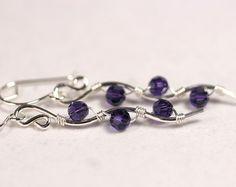 Dark Blue Swarovski Earrings Wire Wrapped by JessicaLuuJewelry