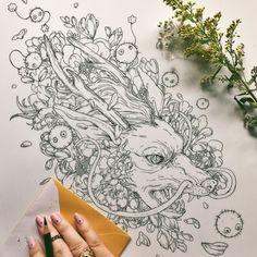 Haku via Spirited Away via 😍⚫️ Tattoo Sketches, Tattoo Drawings, Body Art Tattoos, Art Drawings, Spirited Away Tattoo, Spirited Away Haku, Studio Ghibli Tattoo, Tattoo Zeichnungen, Graffiti