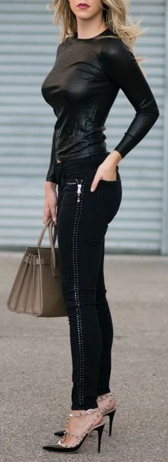All Black Studded Outfit