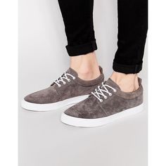 ASOS Lace Up Plimsolls in Grey Faux Suede (205 ARS) ❤ liked on Polyvore