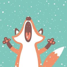 Fox chasing snowflakes