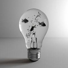 This light bulb aquarium is a little fishy. Light Bulb Art, Light Bulb Crafts, Art Tumblr, Shops, Grunge Art, Disney Instagram, Landscape Illustration, Illustration Art, Favim