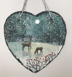 Winter Forest - acrylic on a 6 inch slate heart (SOLD)
