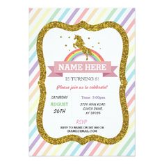 Shop Unicorn Birthday Party Gold Glitter Rainbow Invite created by WOWWOWMEOW. Glitter Birthday Parties, Unicorn Birthday Parties, 2nd Birthday, Happy Birthday, Rainbow Birthday Invitations, Unicorn Birthday Invitations, Gold Invitations, Custom Invitations, Unicorn And Fairies