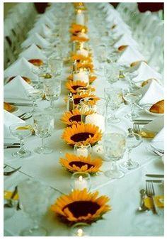 Sunflower Centerpieces | Wine glass candle lamps : wedding candles centerpieces diy flowers ...