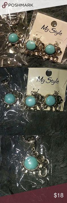 New still in rapper elephant necklace&earring set New elephant turquoise  necklace&earring set. Still in rapper. P Fashion jewery$My style Jewelry